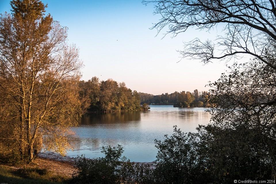 Le lac de Miribel revets ses couleurs d'automne